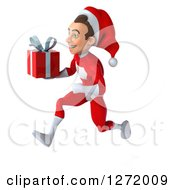 3d Young White Male Super Hero Santa Sprinting And Holding A Christmas Gift