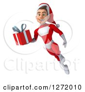 3d Young White Male Super Hero Santa Flying And Holding A Christmas Gift
