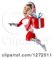 3d Young White Male Super Hero Santa Flying Pointing To The Left And Holding A Christmas Gift