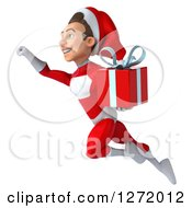 3d Young White Male Super Hero Santa Flying To The Left And Holding A Christmas Gift