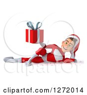 3d Young White Male Super Hero Santa Resting And Holding A Christmas Gift
