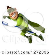 Clipart Of A 3d Caucasian Green Super Hero Man Flying With A Toothbrush Royalty Free Illustration
