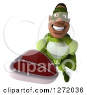 Clipart Of A 3d Male Black Super Hero In Green Holding Up A Beef Steak Royalty Free Illustration