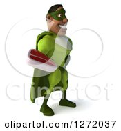 Clipart Of A 3d Male Black Super Hero In Green Facing Right And Holding A Beef Steak Royalty Free Illustration
