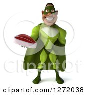 Clipart Of A 3d Male Black Super Hero In Green Holding A Beef Steak Royalty Free Illustration