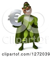 Clipart Of A 3d Male Black Super Hero In Green Holding A Euro Symbol Royalty Free Illustration