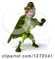Clipart Of A 3d Male Black Super Hero In Green Punching Royalty Free Illustration