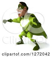 Clipart Of A 3d Male Black Super Hero In Green Punching To The Left Royalty Free Illustration