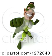Clipart Of A 3d Male Black Super Hero In Green Punching 2 Royalty Free Illustration