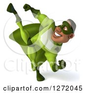 Clipart Of A 3d Male Black Super Hero In Green Kicking Royalty Free Illustration