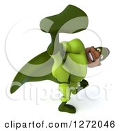 Clipart Of A 3d Male Black Super Hero In Green Kicking 2 Royalty Free Illustration