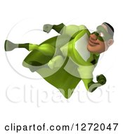 Clipart Of A 3d Male Black Super Hero In Green Kicking 3 Royalty Free Illustration