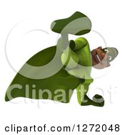 Clipart Of A 3d Male Black Super Hero In Green Kicking 4 Royalty Free Illustration