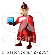 Clipart Of A 3d Caucasian Male Red Super Hero Facing Left And Holding Out A Tablet Computer Royalty Free Illustration