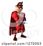 Clipart Of A 3d Caucasian Male Red Super Hero Facing Slightly Right And Using Tablet Computer Royalty Free Illustration