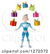 Clipart Of A 3d Young Brunette White Male Super Hero In A Blue Suit Juggling Gifts Royalty Free Illustration