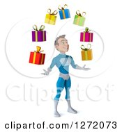 Clipart Of A 3d Young Brunette White Male Super Hero In A Blue Suit Facing Right And Juggling Gifts Royalty Free Illustration
