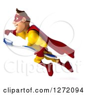 Clipart Of A 3d Caucasian Yellow And Red Super Hero Man Flying To The Left With A Toothbrush Royalty Free Illustration