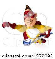 Clipart Of A 3d Caucasian Yellow And Red Super Hero Man Flying Slightly To The Left With A Toothbrush Royalty Free Illustration