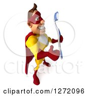 Clipart Of A 3d Caucasian Yellow And Red Super Hero Man Facing Right Giving A Thumb Up And Holding A Toothbrush Royalty Free Illustration