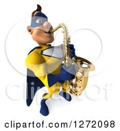 Clipart Of A 3d Caucasian Yellow And Blue Super Hero Man Facing Right And Playing A Saxophone Royalty Free Illustration