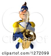Clipart Of A 3d Caucasian Yellow And Blue Super Hero Man Playing A Saxophone Royalty Free Illustration
