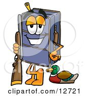 Suitcase Cartoon Character Duck Hunting Standing With A Rifle And Duck