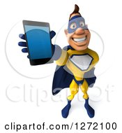Clipart Of A 3d Caucasian Yellow And Blue Super Hero Man Holding Up A Smart Phone Royalty Free Illustration