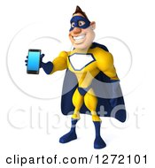 Clipart Of A 3d Caucasian Yellow And Blue Super Hero Man Facing Left And Holding Out A Smart Phone Royalty Free Illustration
