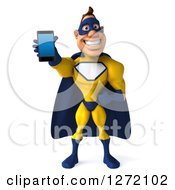 Clipart Of A 3d Caucasian Yellow And Blue Super Hero Man Holding Out A Smart Phone Royalty Free Illustration