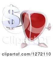 Clipart Of A 3d Beef Steak Mascot Holding A Dollar Symbol And Thumb Up Royalty Free Illustration