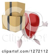 Clipart Of A 3d Beef Steak Mascot Facing Slightly Right Jumping And Holding Boxes Royalty Free Illustration