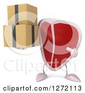 Clipart Of A 3d Beef Steak Mascot Holding And Pointing To Boxes Royalty Free Illustration