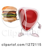 Clipart Of A 3d Beef Steak Mascot Holding A Double Cheeseburger Royalty Free Illustration