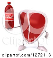 Clipart Of A 3d Beef Steak Mascot Holding A Soda Bottle Royalty Free Illustration