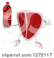Clipart Of A 3d Beef Steak Mascot Jumping And Holding A Soda Bottle Royalty Free Illustration