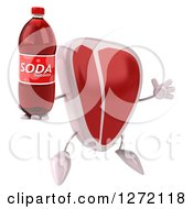 Clipart Of A 3d Beef Steak Mascot Facing Right Jumping And Holding A Soda Bottle Royalty Free Illustration
