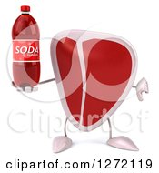 Clipart Of A 3d Beef Steak Mascot Holding A Thumb Down And A Soda Bottle Royalty Free Illustration