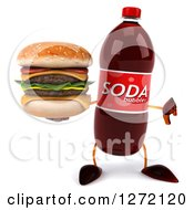 Clipart Of A 3d Soda Bottle Character Holding A Thumb Down And A Double Cheeseburger Royalty Free Illustration