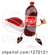 Clipart Of A 3d Soda Bottle Character Jumping With A Steak Royalty Free Illustration