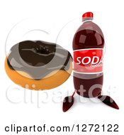 Clipart Of A 3d Soda Bottle Character Holding Up A Chocolate Frosted Donut Royalty Free Illustration