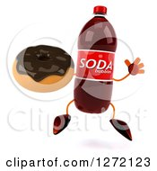 Clipart Of A 3d Soda Bottle Character Jumping And Holding A Chocolate Frosted Donut Royalty Free Illustration