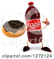 Clipart Of A 3d Soda Bottle Character Holding Up A Finger And A Chocolate Frosted Donut Royalty Free Illustration