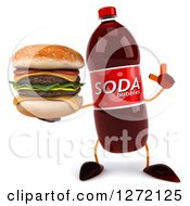 Clipart Of A 3d Soda Bottle Character Holding Up A Finger And A Double Cheeseburger Royalty Free Illustration