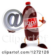 Clipart Of A 3d Soda Bottle Character Holding Up A Finger And Email Arobase At Symbol Royalty Free Illustration