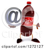 Clipart Of A 3d Soda Bottle Character Holding A Thumb Down And Email Arobase At Symbol Royalty Free Illustration