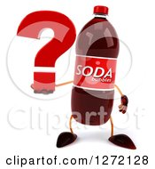 Clipart Of A 3d Soda Bottle Character Holding A Question Mark Royalty Free Illustration