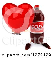 Clipart Of A 3d Soda Bottle Character Holding Up A Heart Royalty Free Illustration