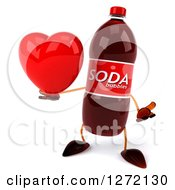 Clipart Of A 3d Soda Bottle Character Shrugging And Holding A Heart Royalty Free Illustration