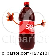 Clipart Of A 3d Soda Bottle Character Facing Right And Jumping Royalty Free Illustration